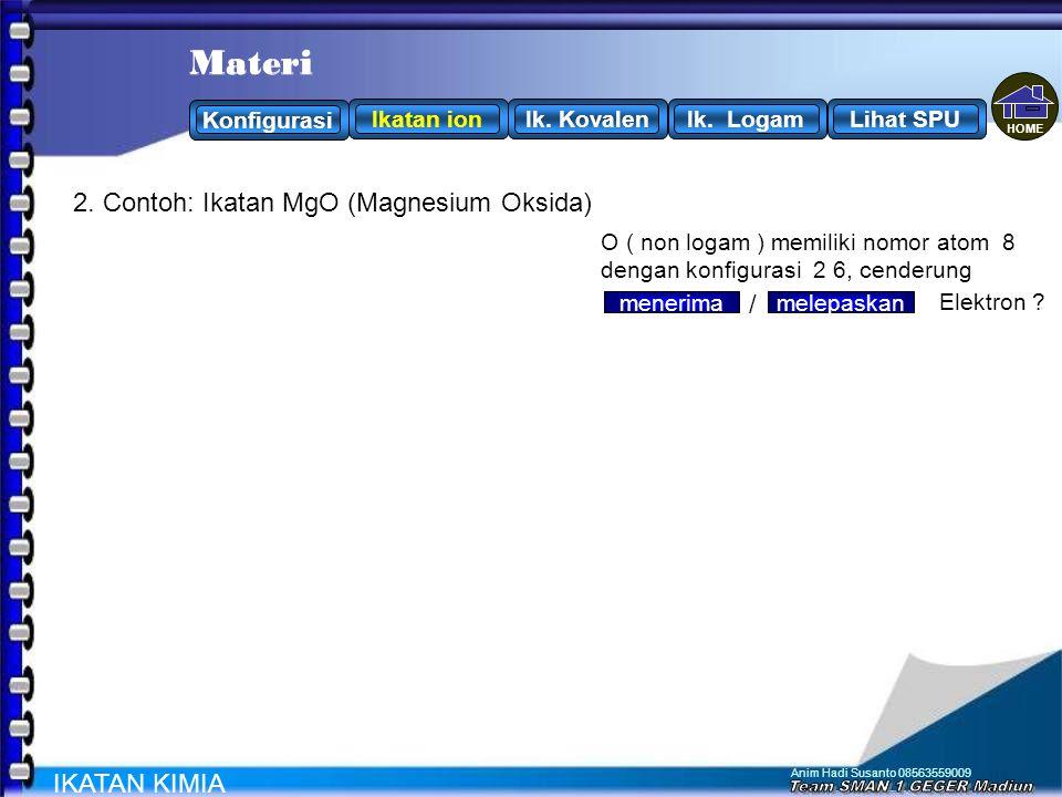 Anim Hadi Susanto 08563559009 2 8 7 17 Cl 2. Contoh: Ikatan NaCl (Natrium klorida) IKATAN KIMIA Na ( logam ) memiliki nomor atom 11 dengan konfigurasi