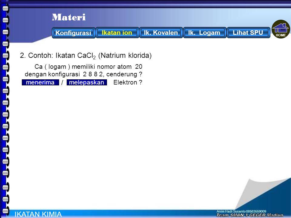 Anim Hadi Susanto 08563559009 2. Contoh: Ikatan MgO (Magnesium Oksida) IKATAN KIMIA O ( non logam ) memiliki nomor atom 8 dengan konfigurasi 2 6, cend