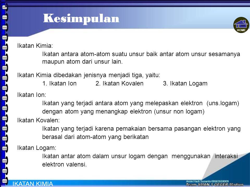 Anim Hadi Susanto 08563559009 Mencoba Lagi Ke Menu Utama JAWABAN ANDA SALAH IKATAN KIMIA Materi