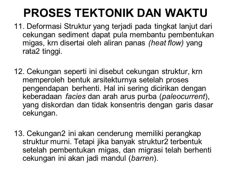 PROSES TEKTONIK DAN WAKTU 11. Deformasi Struktur yang terjadi pada tingkat lanjut dari cekungan sediment dapat pula membantu pembentukan migas, krn di