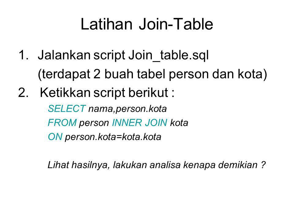 Latihan Join-Table 1.Jalankan script Join_table.sql (terdapat 2 buah tabel person dan kota) 2.