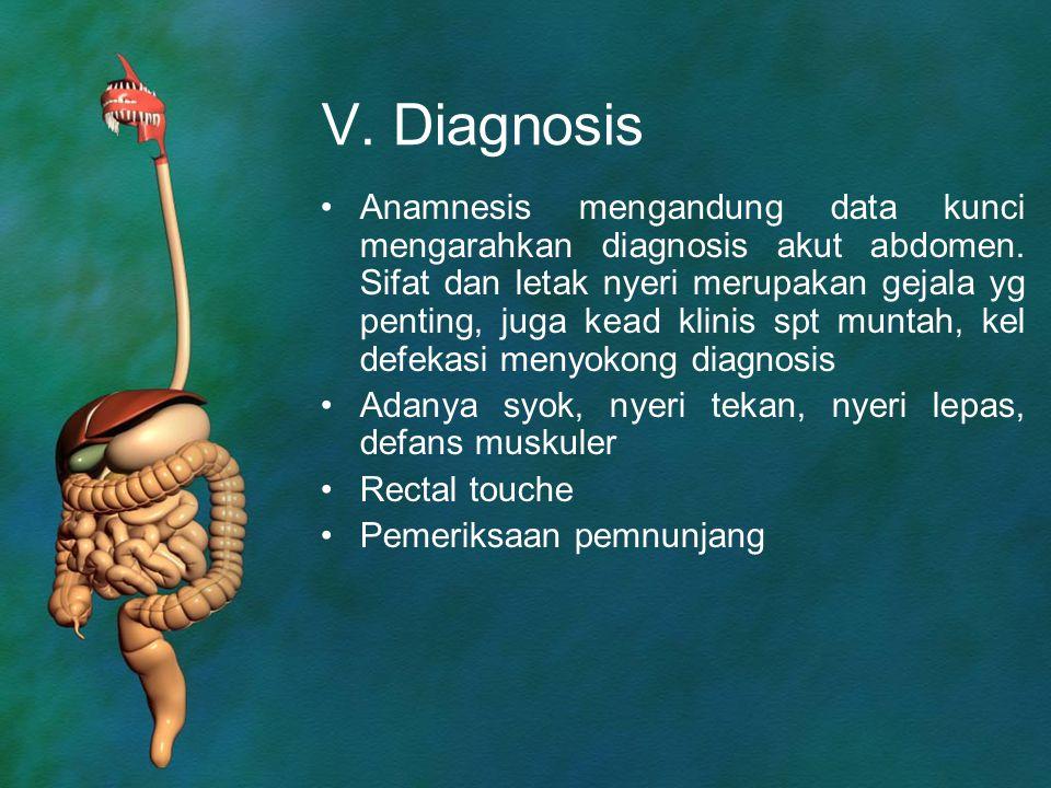 V. Diagnosis Anamnesis mengandung data kunci mengarahkan diagnosis akut abdomen. Sifat dan letak nyeri merupakan gejala yg penting, juga kead klinis s