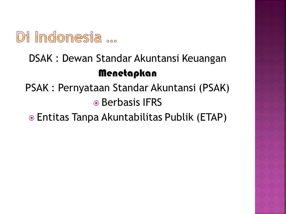 DSAK : Dewan Standar Akuntansi Keuangan Menetapkan PSAK : Pernyataan Standar Akuntansi (PSAK)  Berbasis IFRS  Entitas Tanpa Akuntabilitas Publik (ET