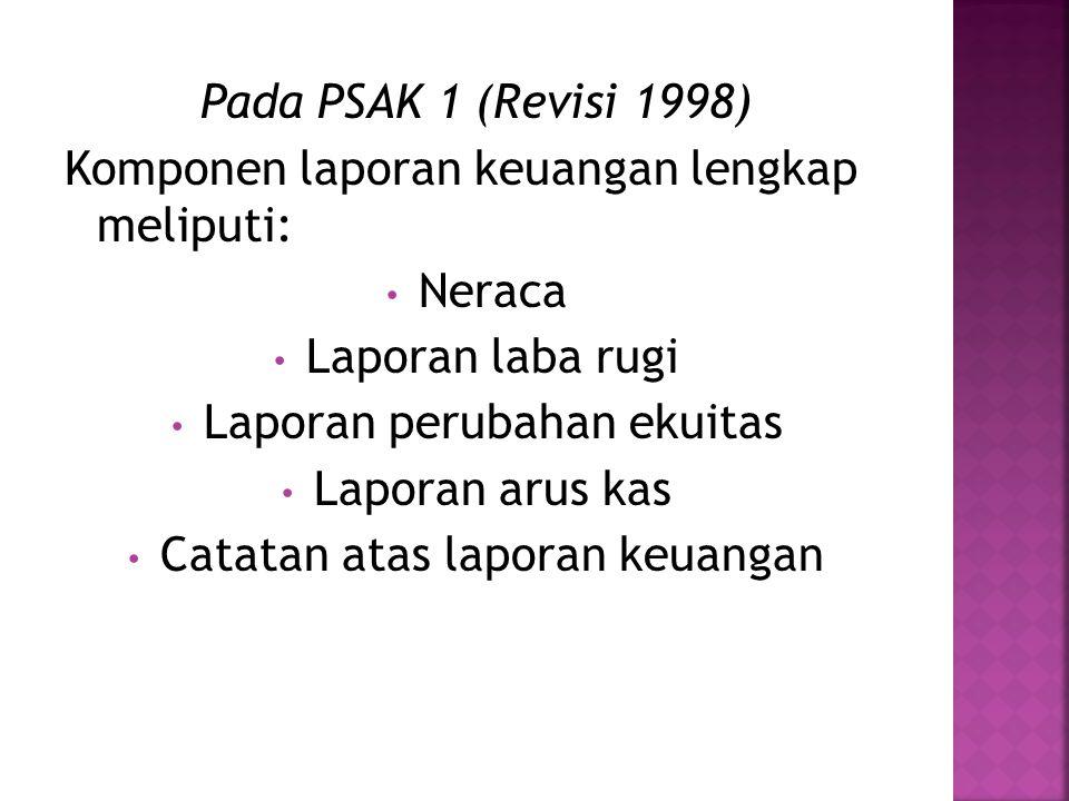 Pada PSAK 1 (Revisi 1998) Komponen laporan keuangan lengkap meliputi: Neraca Laporan laba rugi Laporan perubahan ekuitas Laporan arus kas Catatan atas