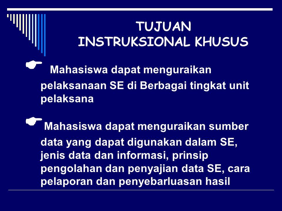 TUJUAN INSTRUKSIONAL KHUSUS  Mahasiswa dapat menguraikan pelaksanaan SE di Berbagai tingkat unit pelaksana  Mahasiswa dapat menguraikan sumber data