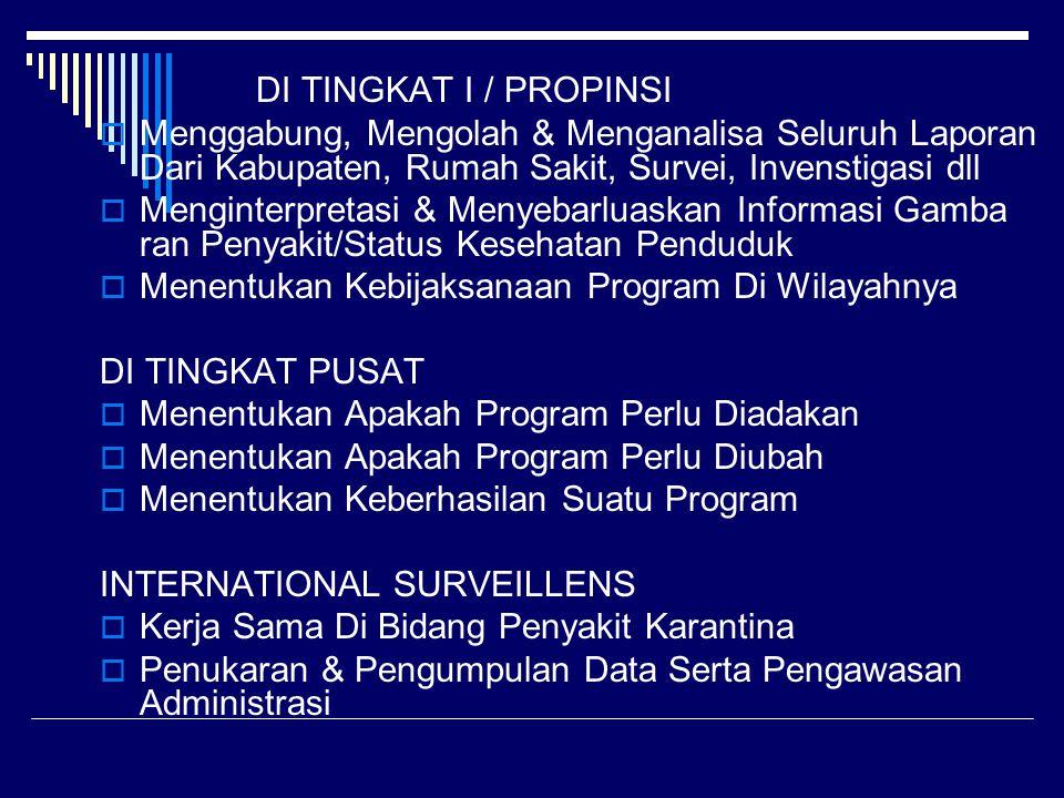 DI TINGKAT I / PROPINSI  Menggabung, Mengolah & Menganalisa Seluruh Laporan Dari Kabupaten, Rumah Sakit, Survei, Invenstigasi dll  Menginterpretasi & Menyebarluaskan Informasi Gamba ran Penyakit/Status Kesehatan Penduduk  Menentukan Kebijaksanaan Program Di Wilayahnya DI TINGKAT PUSAT  Menentukan Apakah Program Perlu Diadakan  Menentukan Apakah Program Perlu Diubah  Menentukan Keberhasilan Suatu Program INTERNATIONAL SURVEILLENS  Kerja Sama Di Bidang Penyakit Karantina  Penukaran & Pengumpulan Data Serta Pengawasan Administrasi