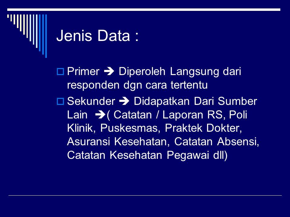 Jenis Data :  Primer  Diperoleh Langsung dari responden dgn cara tertentu  Sekunder  Didapatkan Dari Sumber Lain  ( Catatan / Laporan RS, Poli Kl