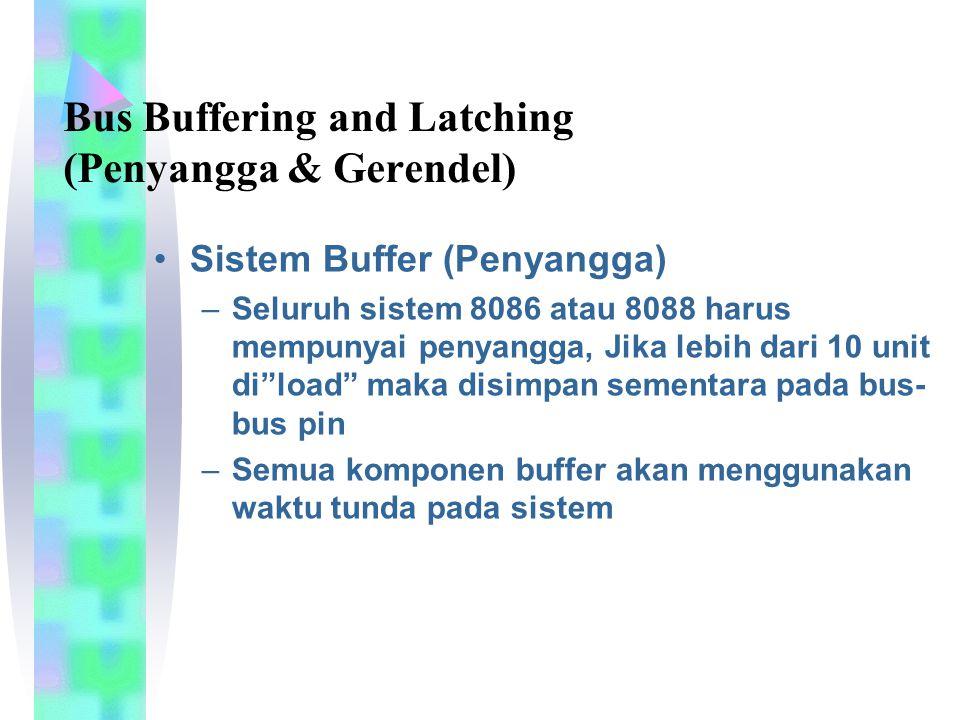 """Sistem Buffer (Penyangga) –Seluruh sistem 8086 atau 8088 harus mempunyai penyangga, Jika lebih dari 10 unit di""""load"""" maka disimpan sementara pada bus-"""