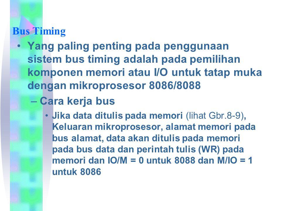 Bus Timing Yang paling penting pada penggunaan sistem bus timing adalah pada pemilihan komponen memori atau I/O untuk tatap muka dengan mikroprosesor