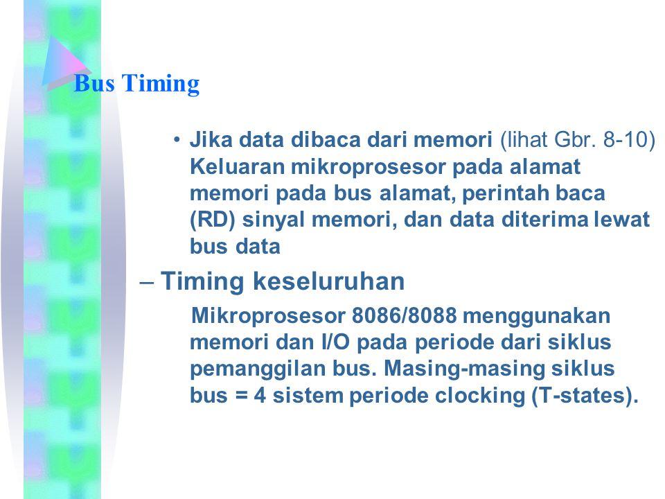 Bus Timing Jika data dibaca dari memori (lihat Gbr. 8-10) Keluaran mikroprosesor pada alamat memori pada bus alamat, perintah baca (RD) sinyal memori,