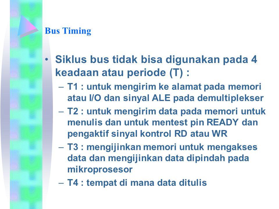 Siklus bus tidak bisa digunakan pada 4 keadaan atau periode (T) : –T1 : untuk mengirim ke alamat pada memori atau I/O dan sinyal ALE pada demultipleks
