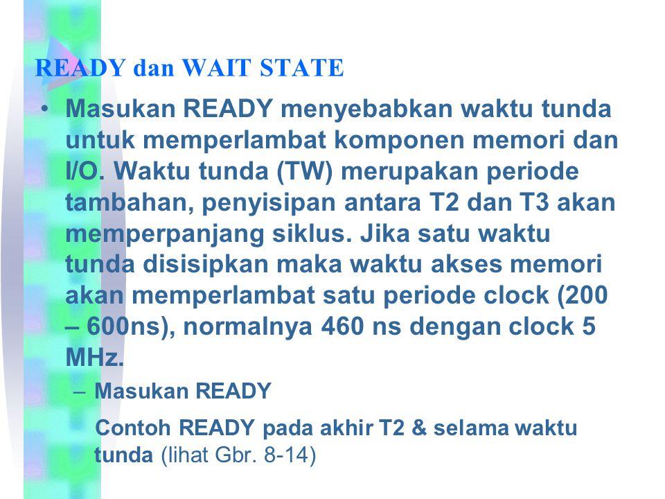 READY dan WAIT STATE Masukan READY menyebabkan waktu tunda untuk memperlambat komponen memori dan I/O. Waktu tunda (TW) merupakan periode tambahan, pe