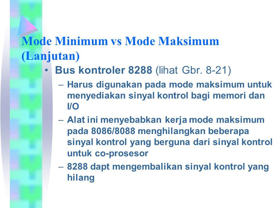Bus kontroler 8288 (lihat Gbr. 8-21) –Harus digunakan pada mode maksimum untuk menyediakan sinyal kontrol bagi memori dan I/O –Alat ini menyebabkan ke