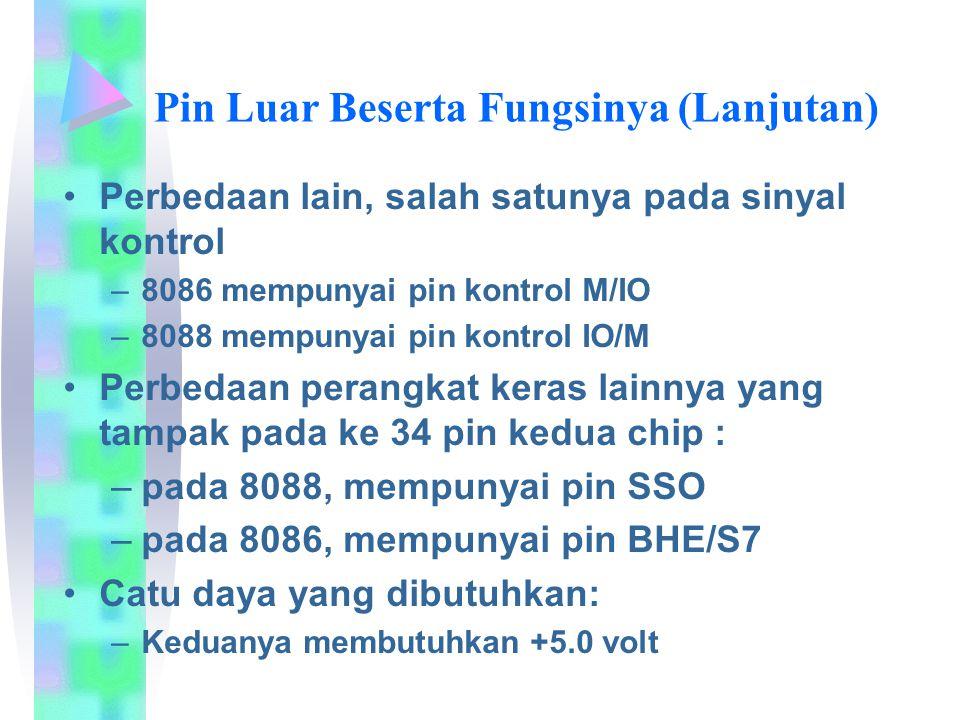 Perbedaan lain, salah satunya pada sinyal kontrol –8086 mempunyai pin kontrol M/IO –8088 mempunyai pin kontrol IO/M Perbedaan perangkat keras lainnya