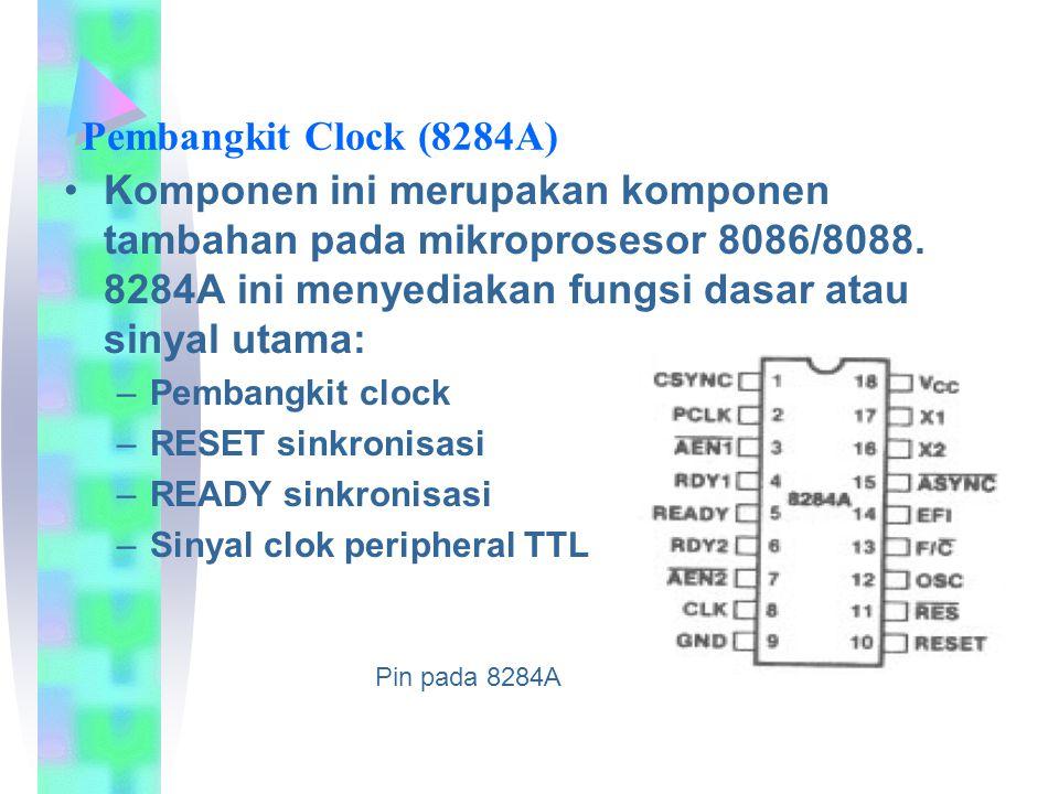Pembangkit Clock (8284A) Komponen ini merupakan komponen tambahan pada mikroprosesor 8086/8088. 8284A ini menyediakan fungsi dasar atau sinyal utama: