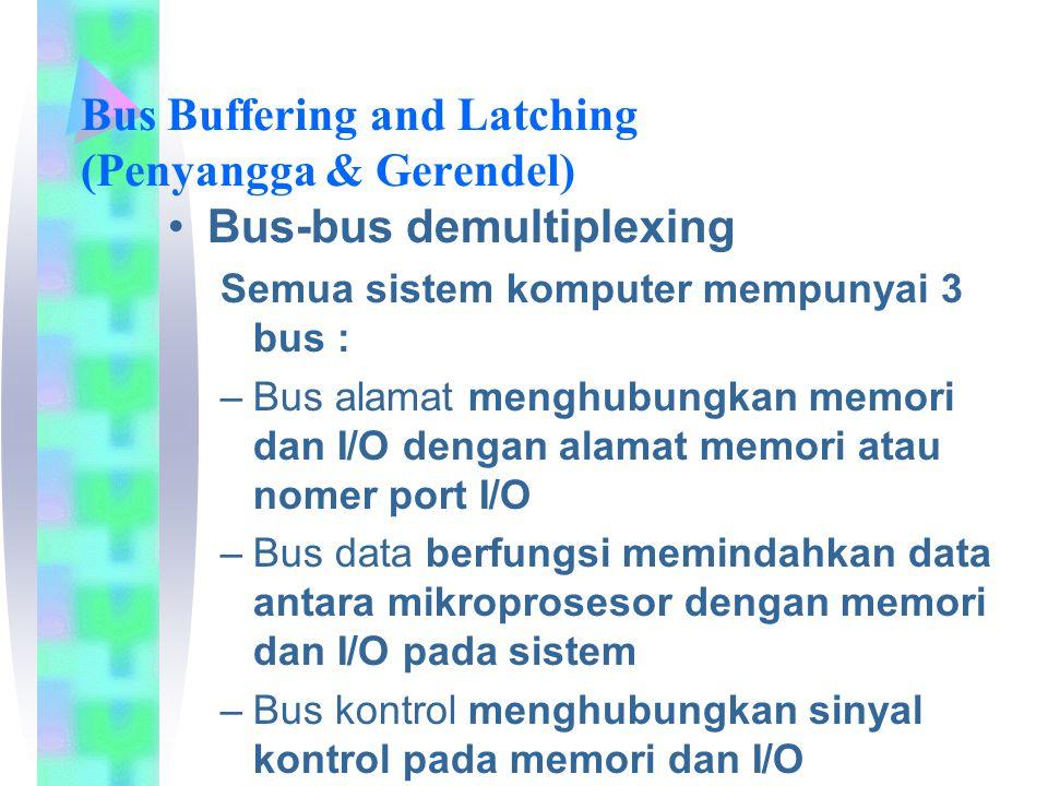 Bus Buffering and Latching (Penyangga & Gerendel) Bus-bus demultiplexing Semua sistem komputer mempunyai 3 bus : –Bus alamat menghubungkan memori dan