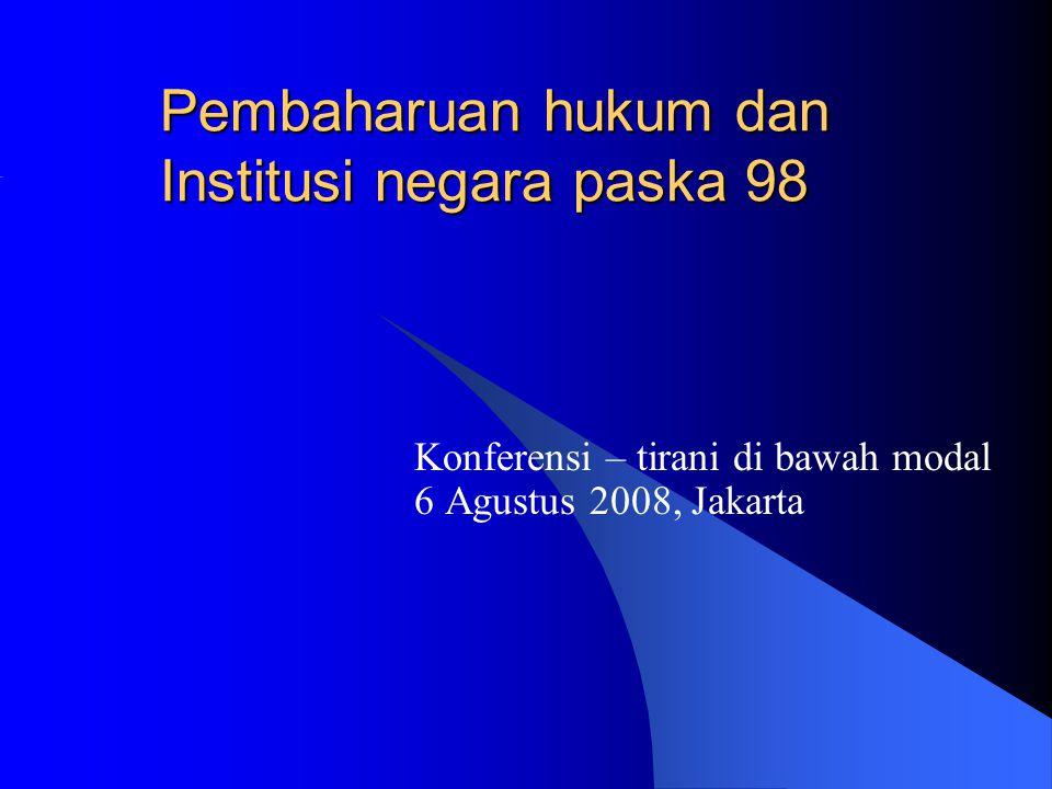 Pembaharuan hukum dan Institusi negara paska 98 Konferensi – tirani di bawah modal 6 Agustus 2008, Jakarta