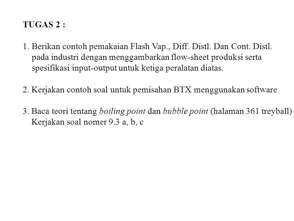 TUGAS 2 : 1.Berikan contoh pemakaian Flash Vap., Diff. Distl. Dan Cont. Distl. pada industri dengan menggambarkan flow-sheet produksi serta spesifikas