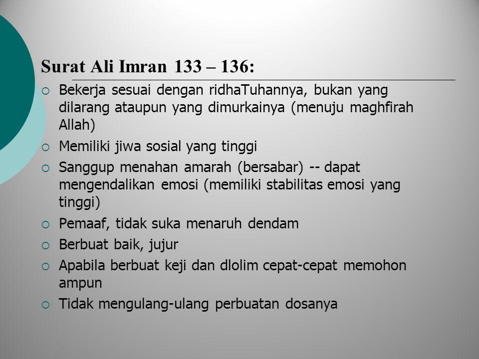 Surat Ali Imran 133 – 136:  Bekerja sesuai dengan ridhaTuhannya, bukan yang dilarang ataupun yang dimurkainya (menuju maghfirah Allah)  Memiliki jiw