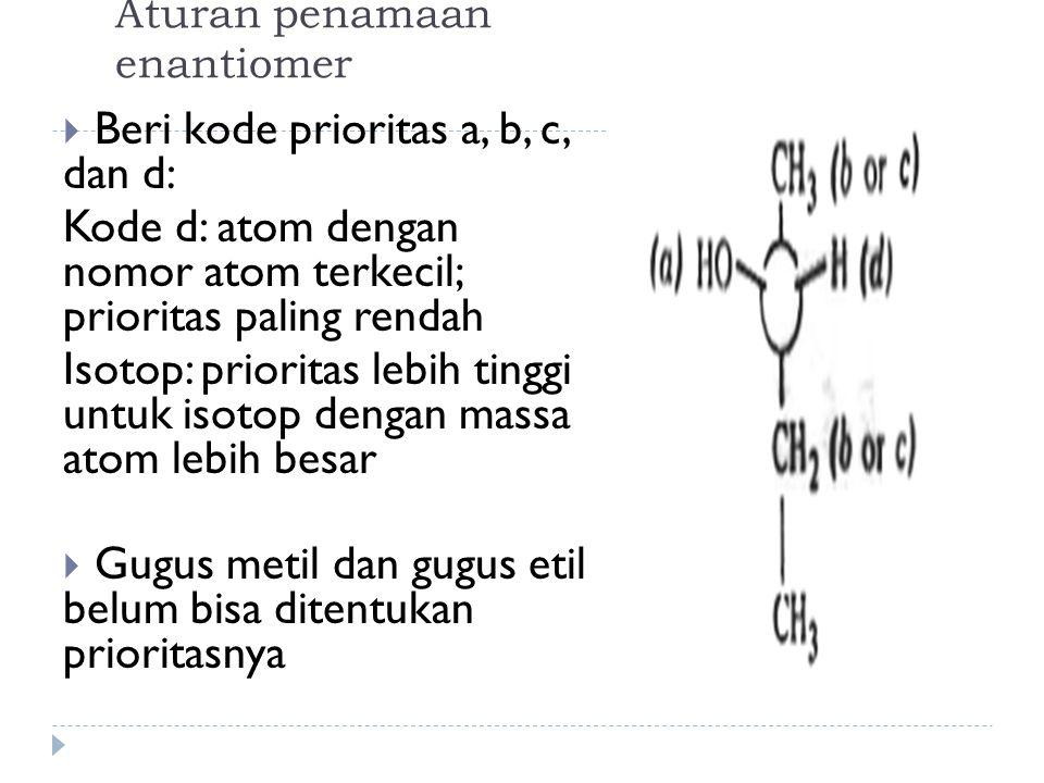 Aturan penamaan enantiomer  Beri kode prioritas a, b, c, dan d: Kode d: atom dengan nomor atom terkecil; prioritas paling rendah Isotop: prioritas lebih tinggi untuk isotop dengan massa atom lebih besar  Gugus metil dan gugus etil belum bisa ditentukan prioritasnya