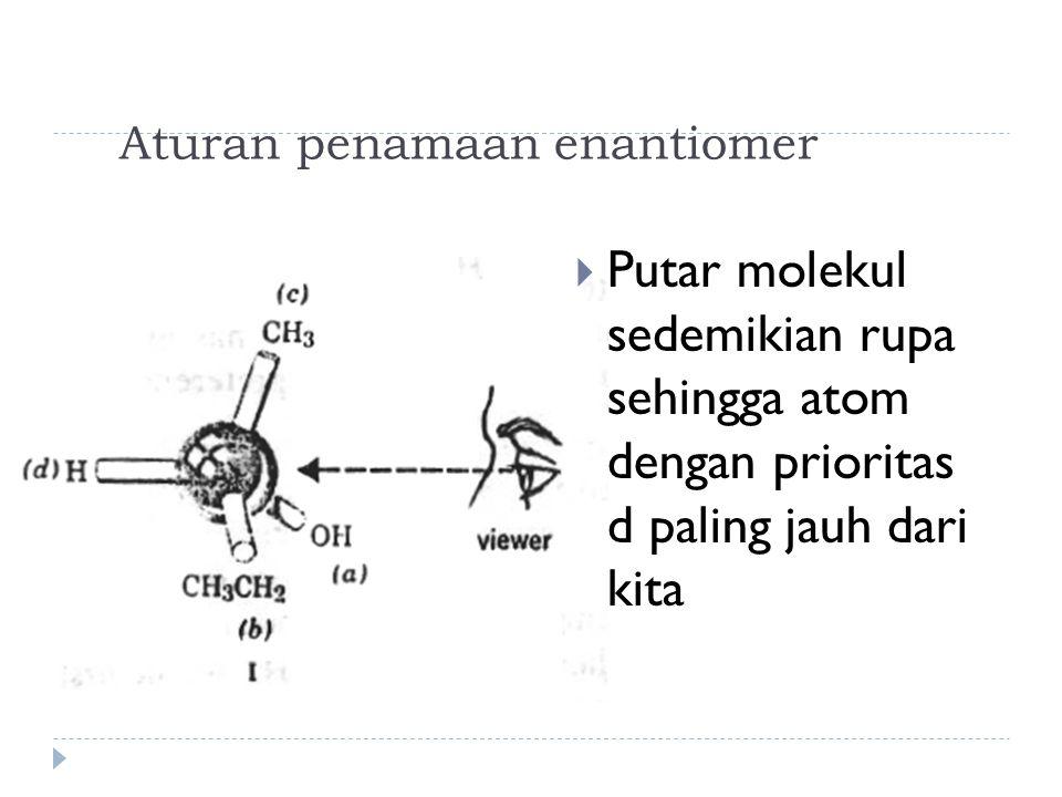 Aturan penamaan enantiomer  Putar molekul sedemikian rupa sehingga atom dengan prioritas d paling jauh dari kita