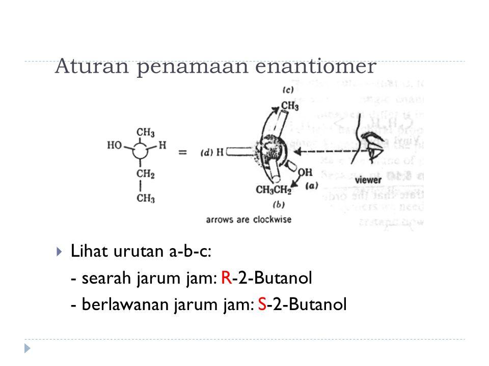 Aturan penamaan enantiomer  Lihat urutan a-b-c: - searah jarum jam: R-2-Butanol - berlawanan jarum jam: S-2-Butanol