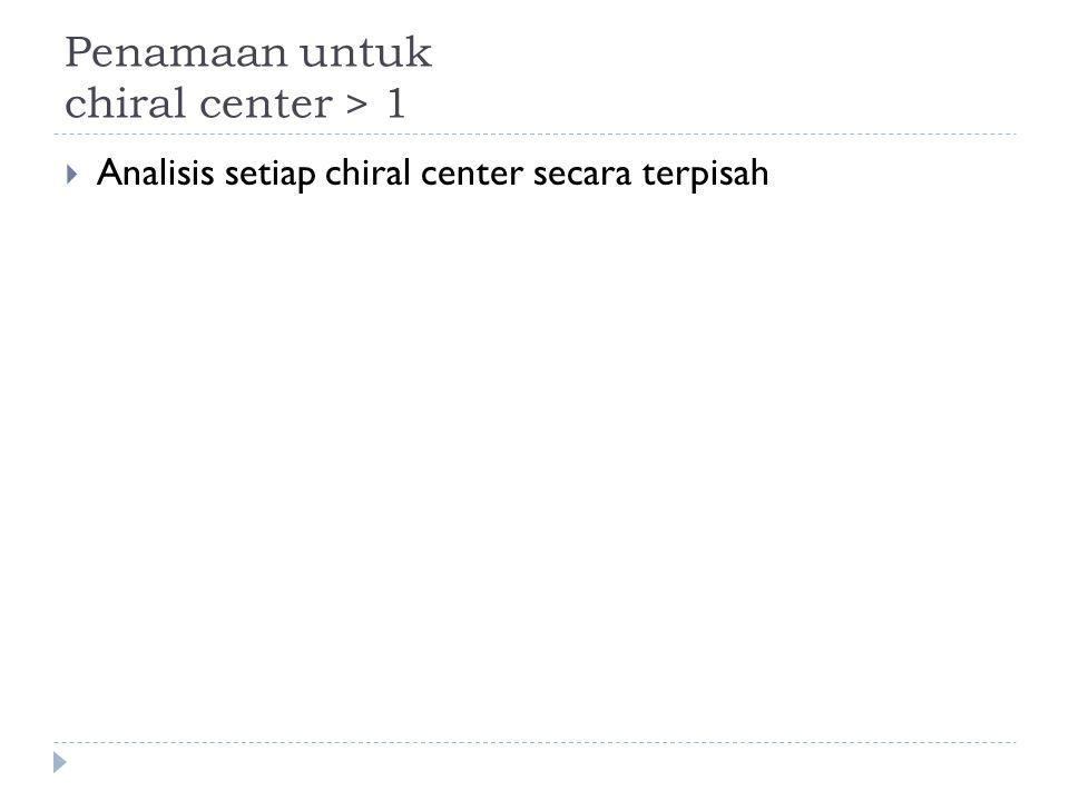 Penamaan untuk chiral center > 1  Analisis setiap chiral center secara terpisah