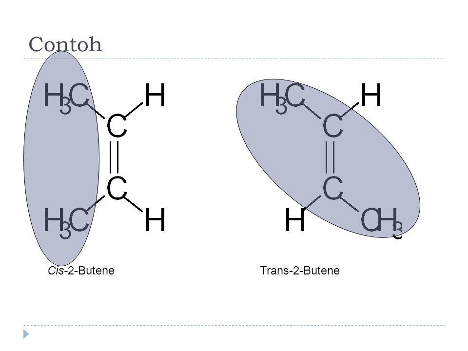 Kategori  Enantiomer: molekul-molekul merupakan bayangan cermin  Diastereomer: bukan bayangan cermin  cis-2-Butene dan trans-2-Butene adalah contoh diastereomer