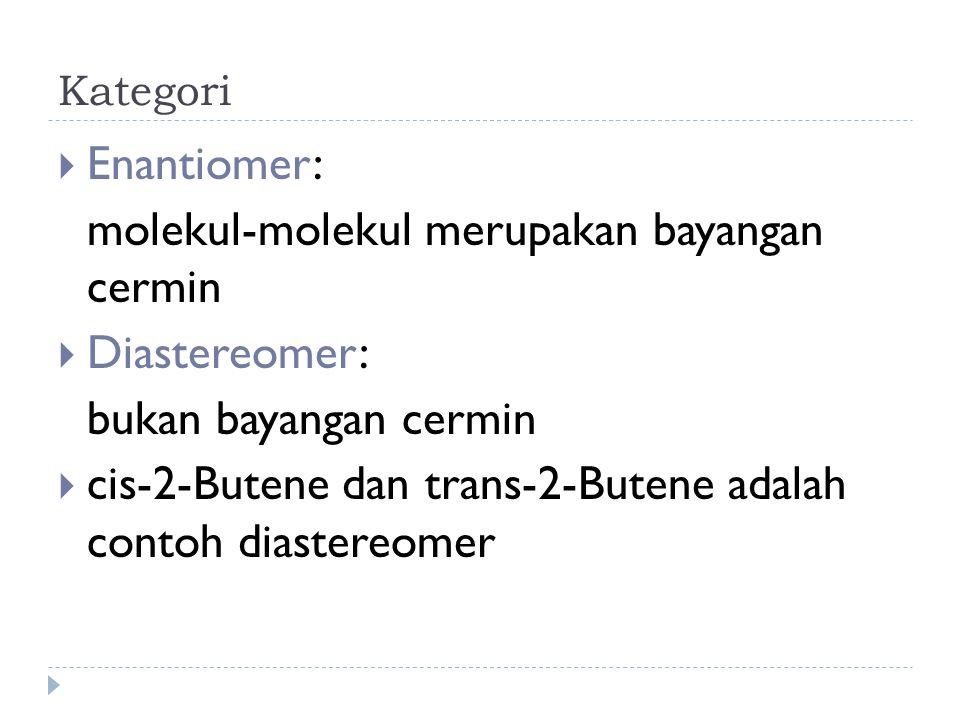 Kategori  Enantiomer: molekul-molekul merupakan bayangan cermin  Diastereomer: bukan bayangan cermin  cis-2-Butene dan trans-2-Butene adalah contoh