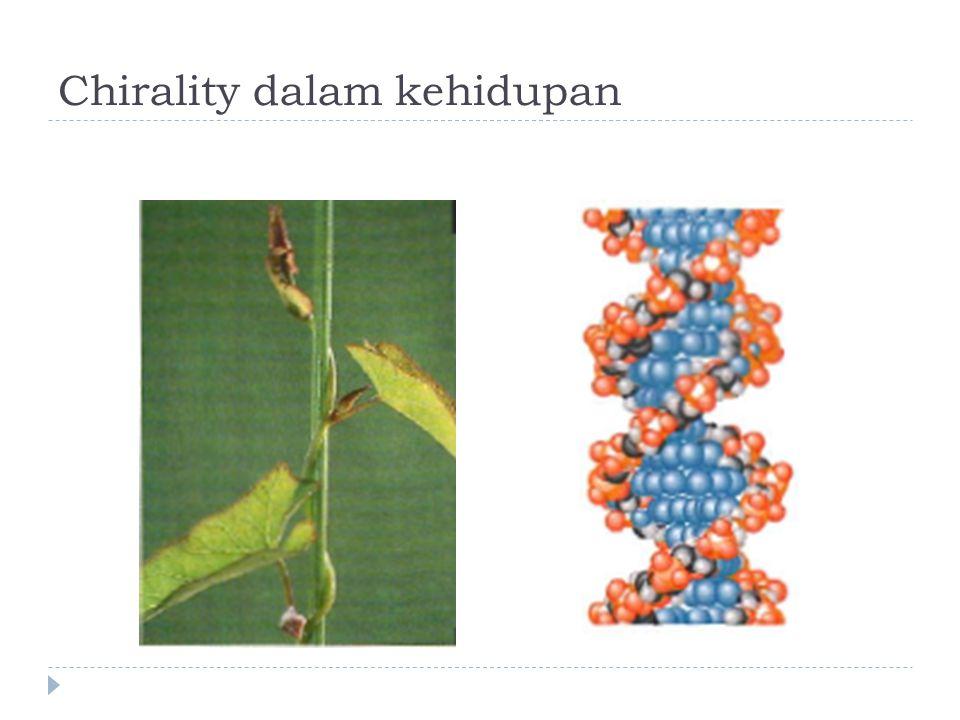 Sifat-sifat enantiomer  Merupakan senyawa yang BERBEDA tapi sifat-sifat fisisnya sama (titik lebur, titik didih, indeks bias, kelarutan, densitas)  Yang berbeda adalah perilaku mereka jika berinteraksi dengan senyawa chiral yang lain (termasuk interaksi dengan cahaya terpolarisasi)