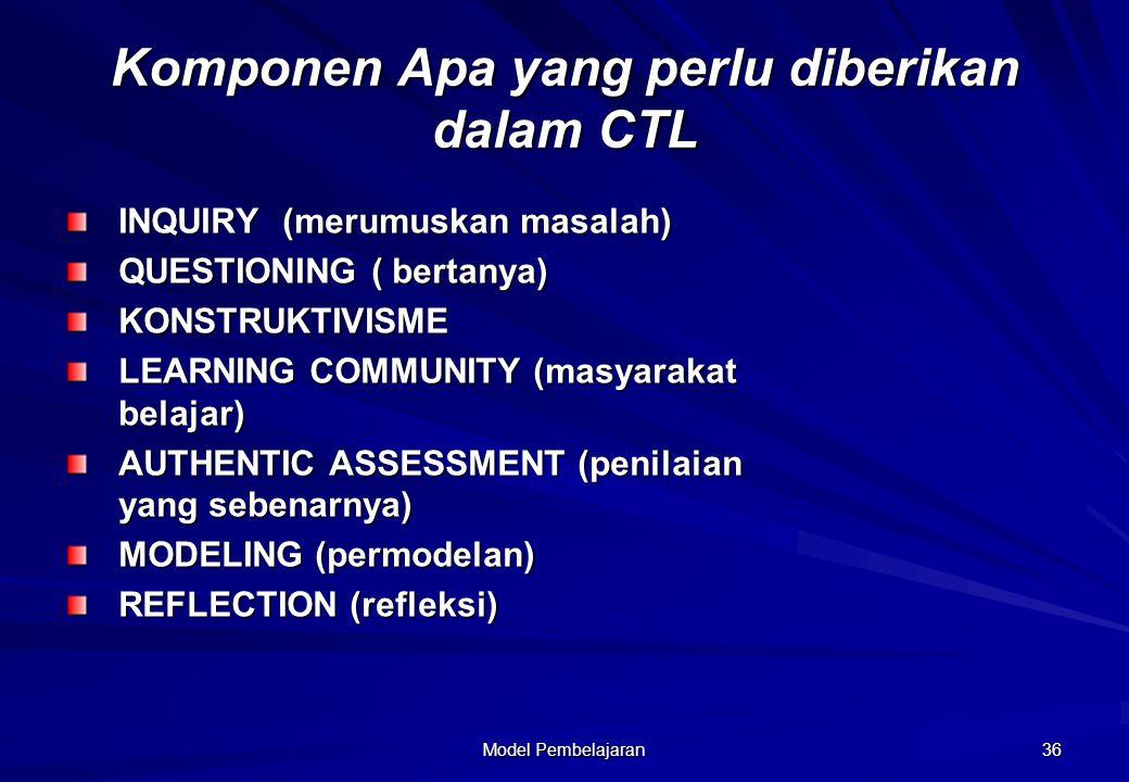Model Pembelajaran 36 Komponen Apa yang perlu diberikan dalam CTL INQUIRY (merumuskan masalah) QUESTIONING ( bertanya) KONSTRUKTIVISME LEARNING COMMUN