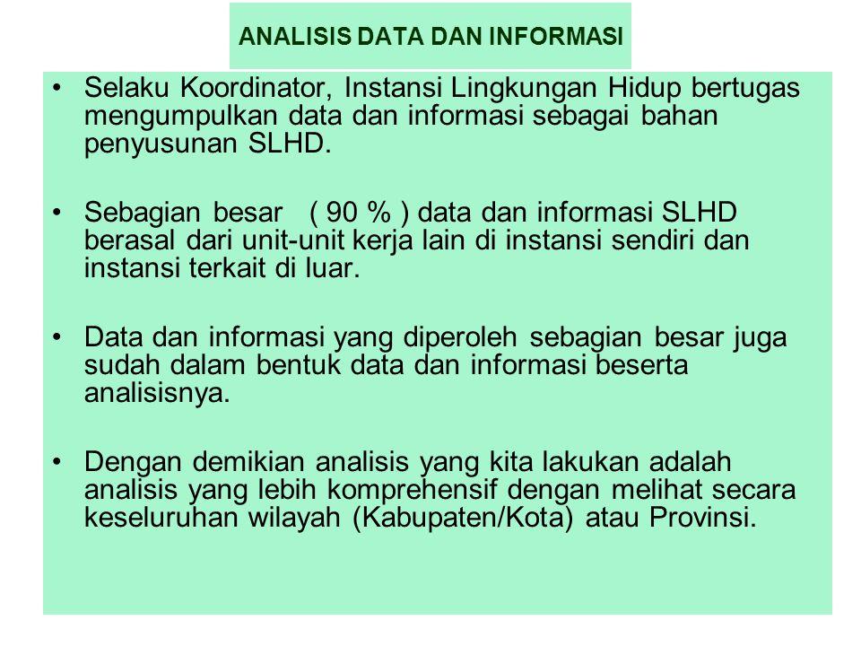 1 ANALISIS DATA DAN INFORMASI Selaku Koordinator, Instansi Lingkungan Hidup bertugas mengumpulkan data dan informasi sebagai bahan penyusunan SLHD. Se