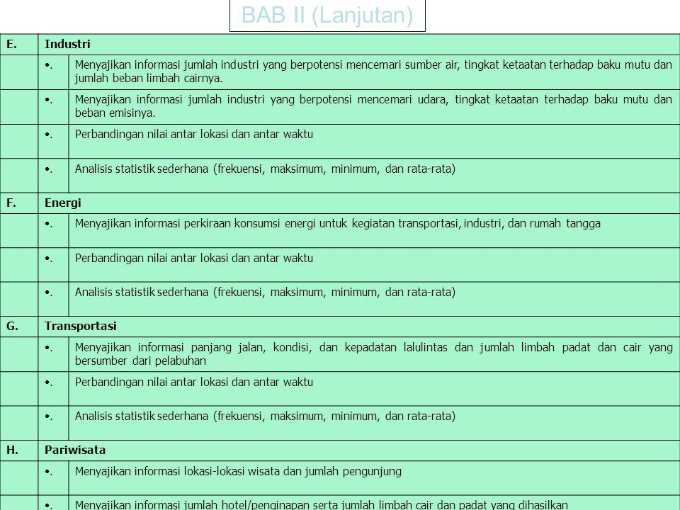 8 BAB II (Lanjutan) E.Industri. Menyajikan informasi jumlah industri yang berpotensi mencemari sumber air, tingkat ketaatan terhadap baku mutu dan jum