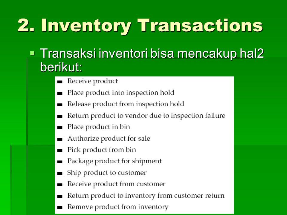 2. Inventory Transactions  Transaksi inventori bisa mencakup hal2 berikut: