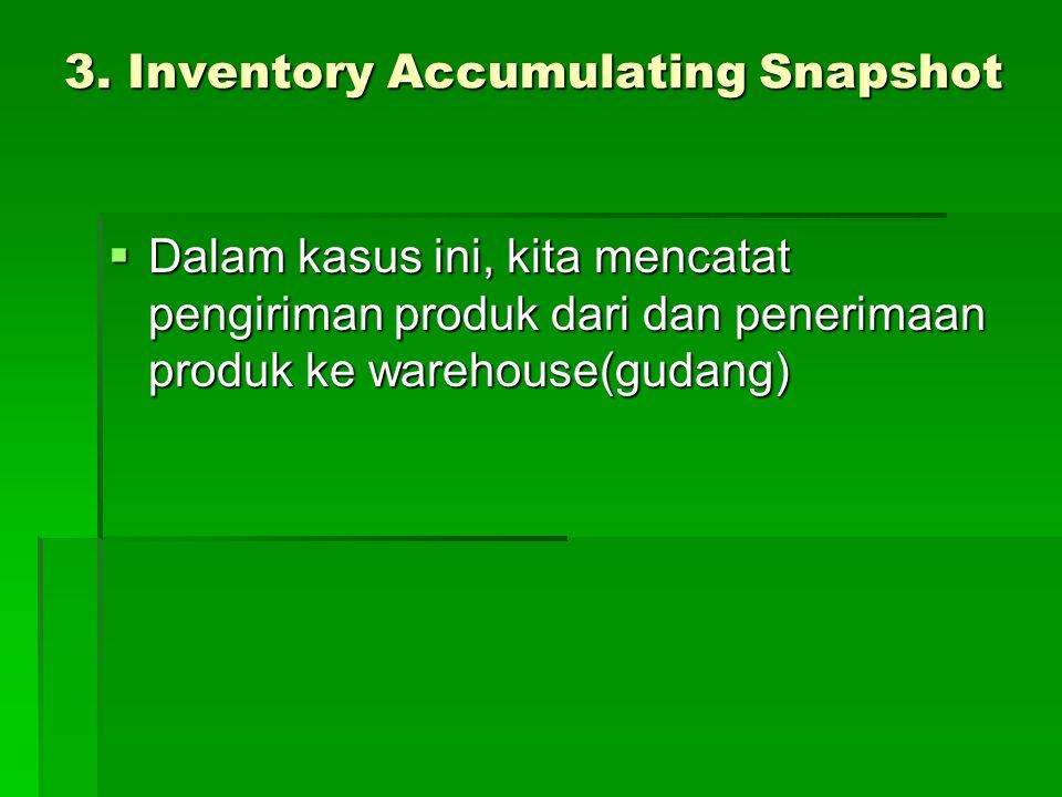 3. Inventory Accumulating Snapshot  Dalam kasus ini, kita mencatat pengiriman produk dari dan penerimaan produk ke warehouse(gudang)