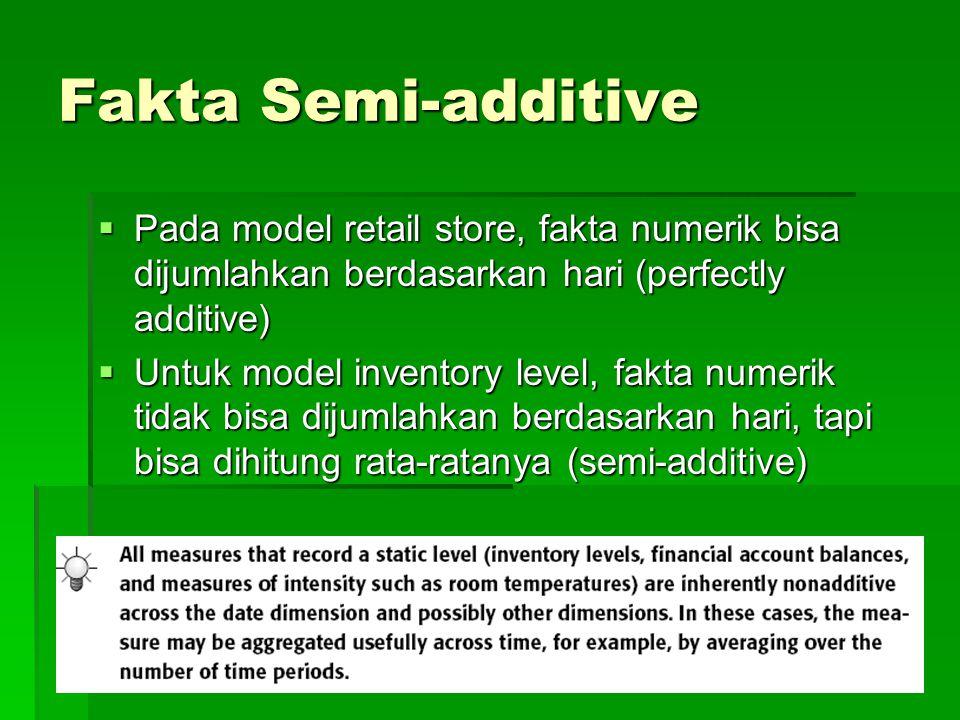 Fakta Semi-additive  Pada model retail store, fakta numerik bisa dijumlahkan berdasarkan hari (perfectly additive)  Untuk model inventory level, fak