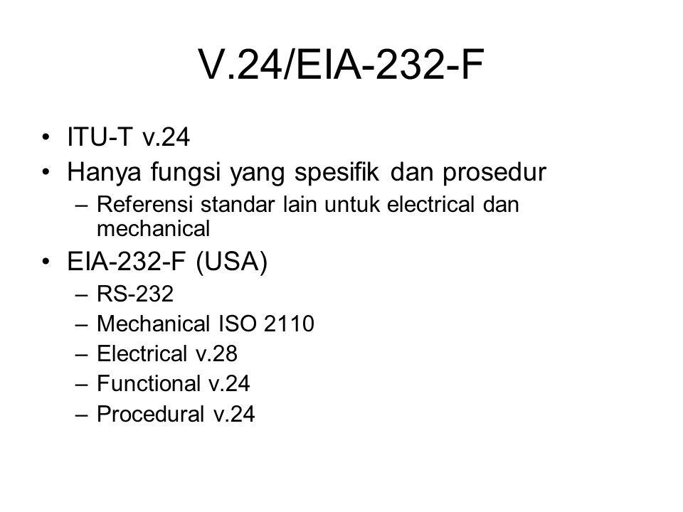 V.24/EIA-232-F ITU-T v.24 Hanya fungsi yang spesifik dan prosedur –Referensi standar lain untuk electrical dan mechanical EIA-232-F (USA) –RS-232 –Mechanical ISO 2110 –Electrical v.28 –Functional v.24 –Procedural v.24