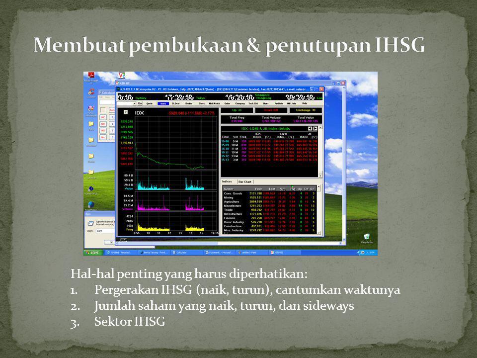 Hal-hal penting yang harus diperhatikan: 1.Pergerakan IHSG (naik, turun), cantumkan waktunya 2.Jumlah saham yang naik, turun, dan sideways 3.Sektor IHSG
