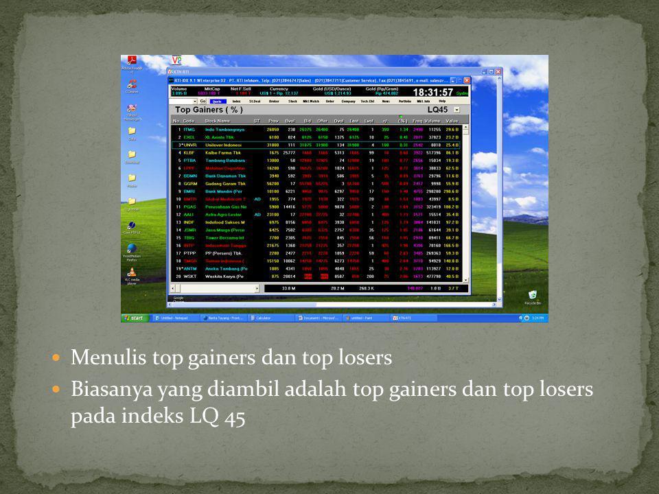 Menulis top gainers dan top losers Biasanya yang diambil adalah top gainers dan top losers pada indeks LQ 45