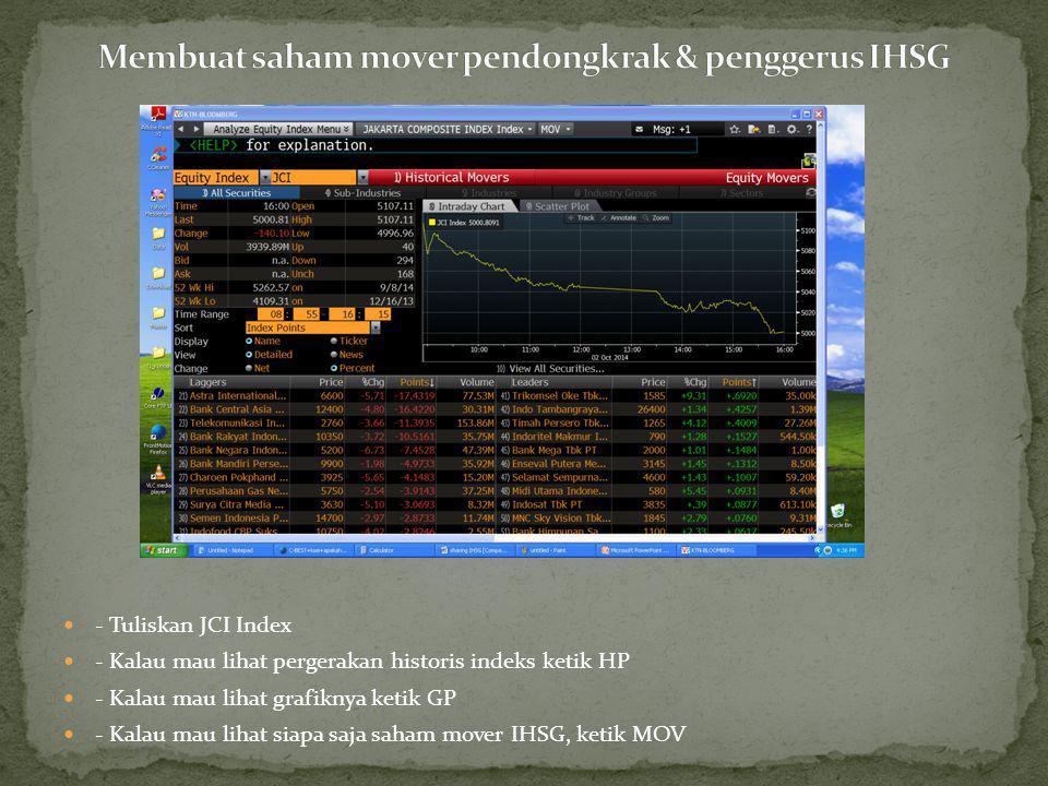 - Ketik nama saham (spasi) IJ (spasi) Equity, contoh: ASII IJ Equity - Ketik BAS - Klik Net - Lihat yang bagian Net Value