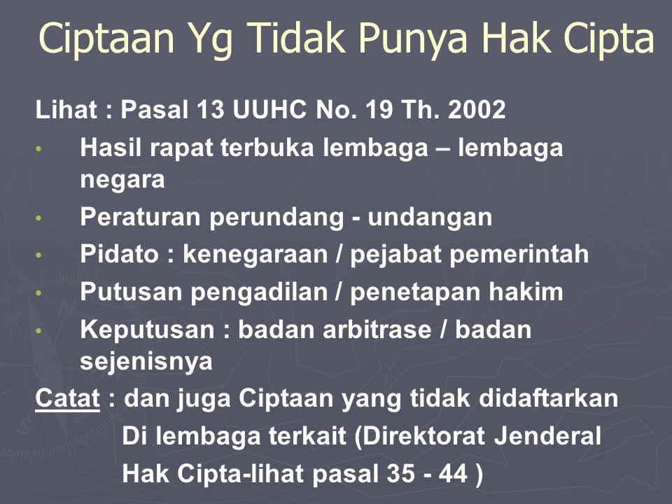 Ciptaan Yg Tidak Punya Hak Cipta Lihat : Pasal 13 UUHC No.