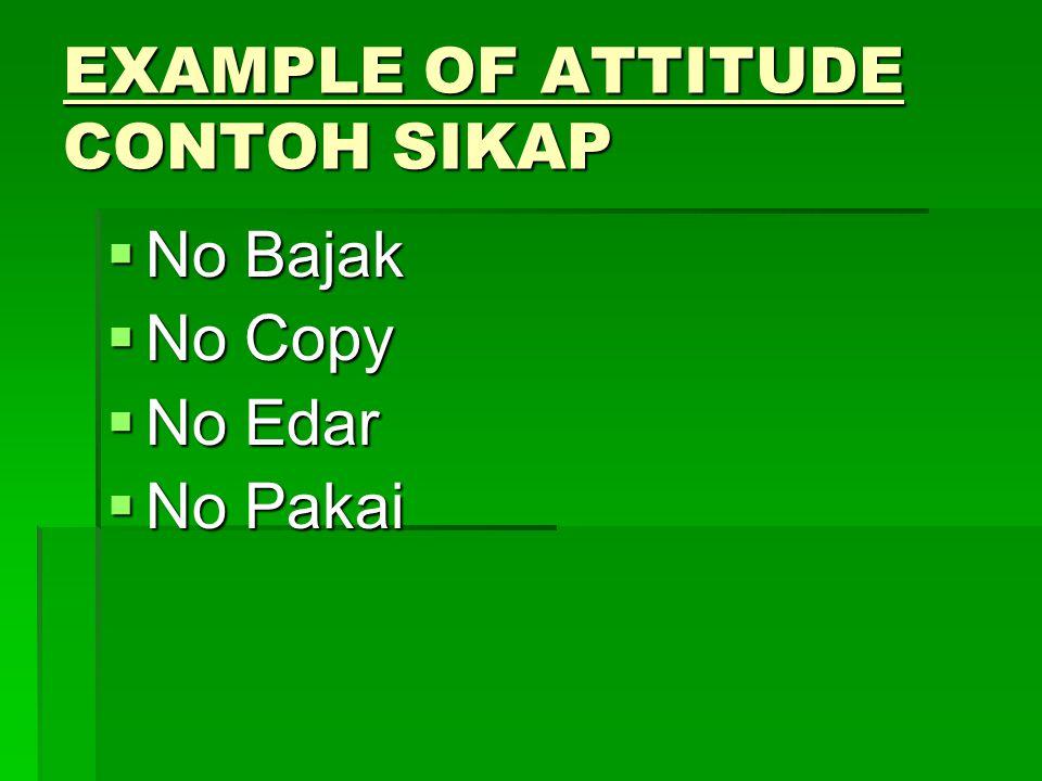 EXAMPLE OF ATTITUDE CONTOH SIKAP  No Bajak  No Copy  No Edar  No Pakai