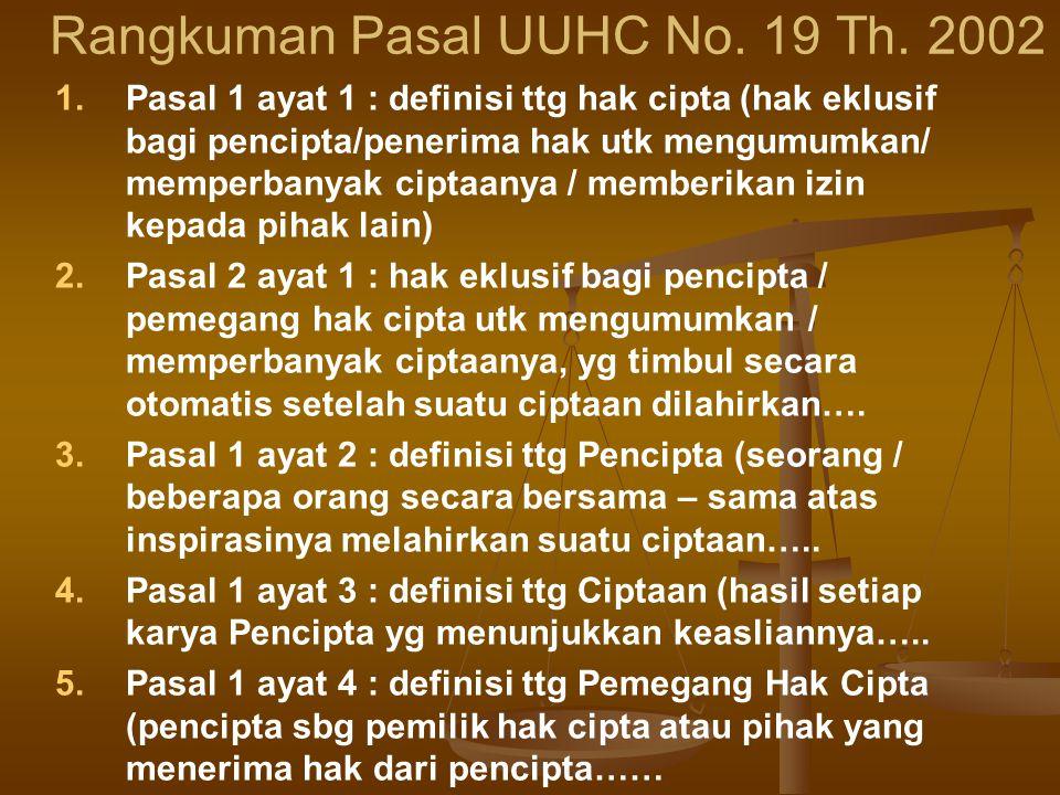 Rangkuman Pasal UUHC No.19 Th.