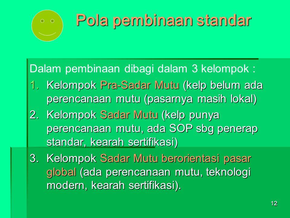 12 Pola pembinaan standar Dalam pembinaan dibagi dalam 3 kelompok : 1.Kelompok Pra-Sadar Mutu (kelp belum ada perencanaan mutu (pasarnya masih lokal)