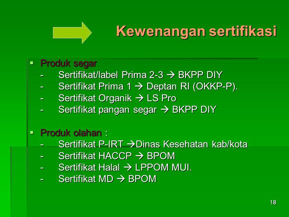 18 Kewenangan sertifikasi  Produk segar -Sertifikat/label Prima 2-3  BKPP DIY -Sertifikat Prima 1  Deptan RI (OKKP-P). -Sertifikat Organik  LS Pro