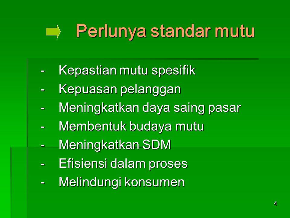 4 Perlunya standar mutu -Kepastian mutu spesifik -Kepuasan pelanggan -Meningkatkan daya saing pasar -Membentuk budaya mutu -Meningkatkan SDM -Efisiens