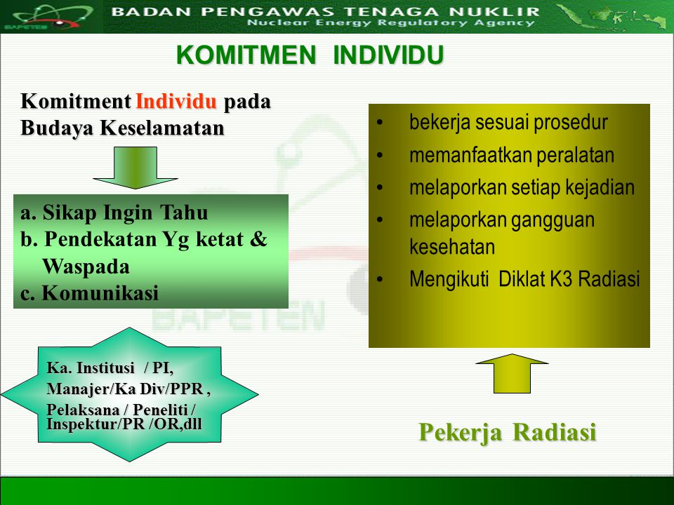 Directorate For Licensing of Nuclear Installation and Materials Nuclear Energy Regulatory Agency 20 Agustus 200822 bekerja sesuai prosedur memanfaatka