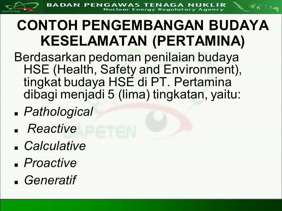 Directorate For Licensing of Nuclear Installation and Materials Nuclear Energy Regulatory Agency 20 Agustus 200830 CONTOH PENGEMBANGAN BUDAYA KESELAMA