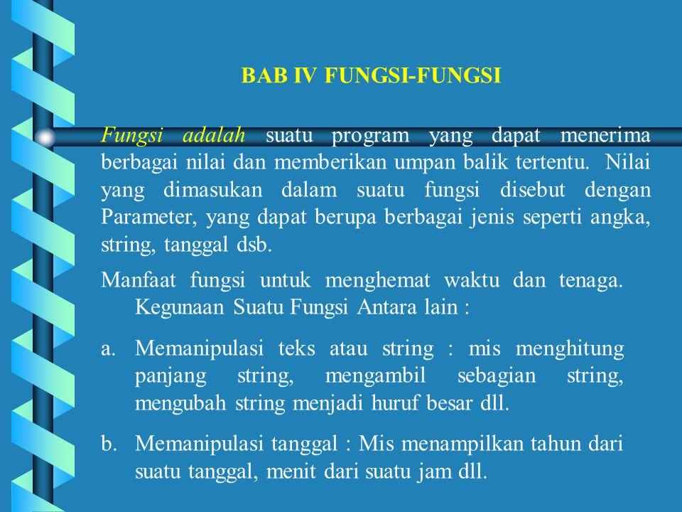 BAB IV FUNGSI-FUNGSI Fungsi adalah suatu program yang dapat menerima berbagai nilai dan memberikan umpan balik tertentu.