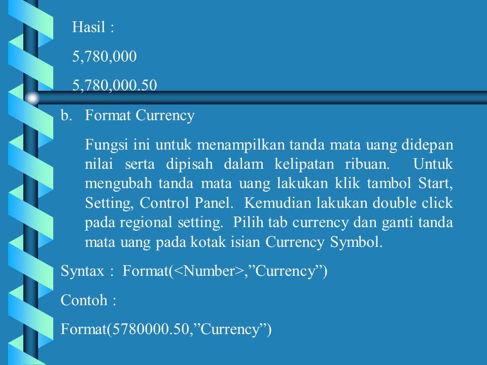 Hasil : 5,780,000 5,780,000.50 b.Format Currency Fungsi ini untuk menampilkan tanda mata uang didepan nilai serta dipisah dalam kelipatan ribuan.